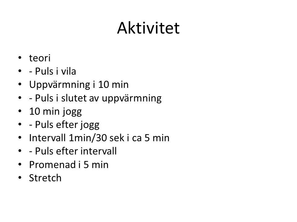 Aktivitet teori - Puls i vila Uppvärmning i 10 min - Puls i slutet av uppvärmning 10 min jogg - Puls efter jogg Intervall 1min/30 sek i ca 5 min - Pul