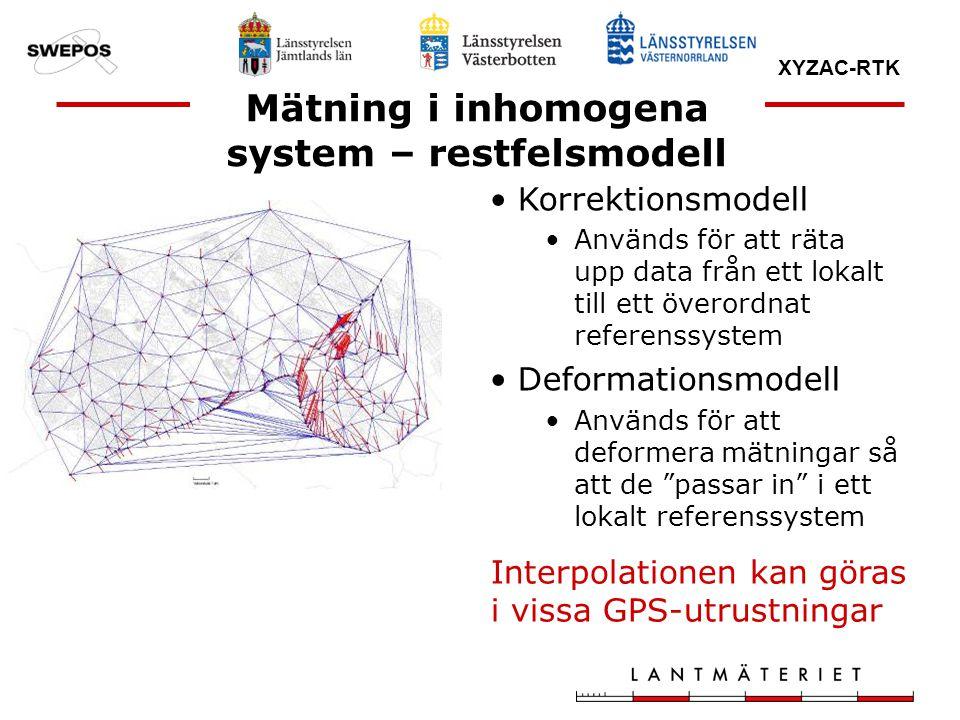 XYZAC-RTK Mätning i inhomogena system – restfelsmodell Korrektionsmodell Används för att räta upp data från ett lokalt till ett överordnat referenssys