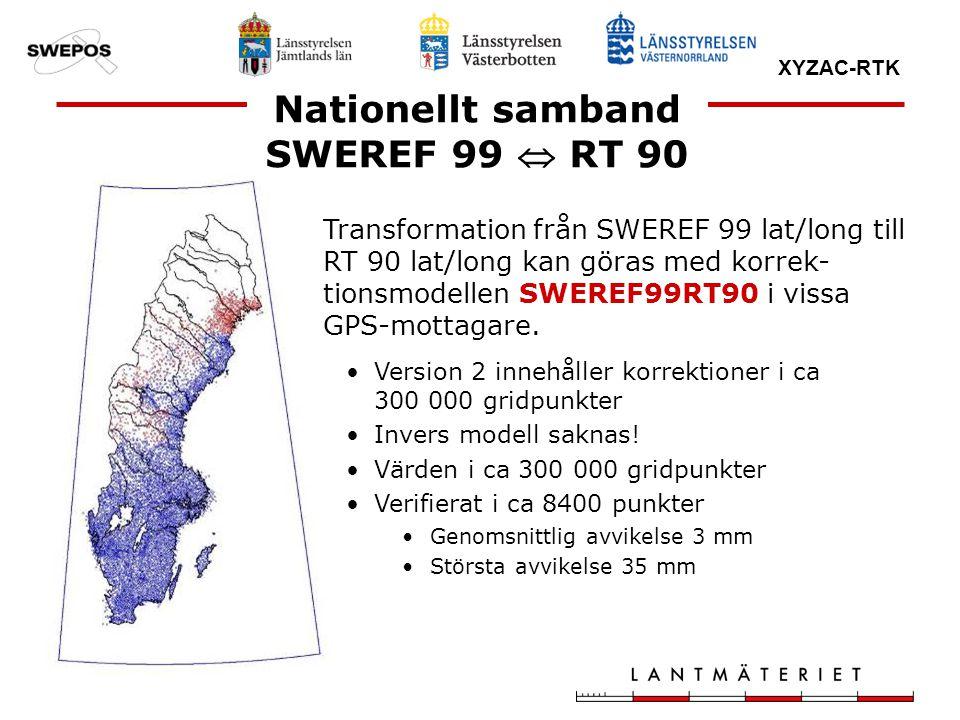 XYZAC-RTK Transformation från SWEREF 99 lat/long till RT 90 lat/long kan göras med korrek- tionsmodellen SWEREF99RT90 i vissa GPS-mottagare. Version 2