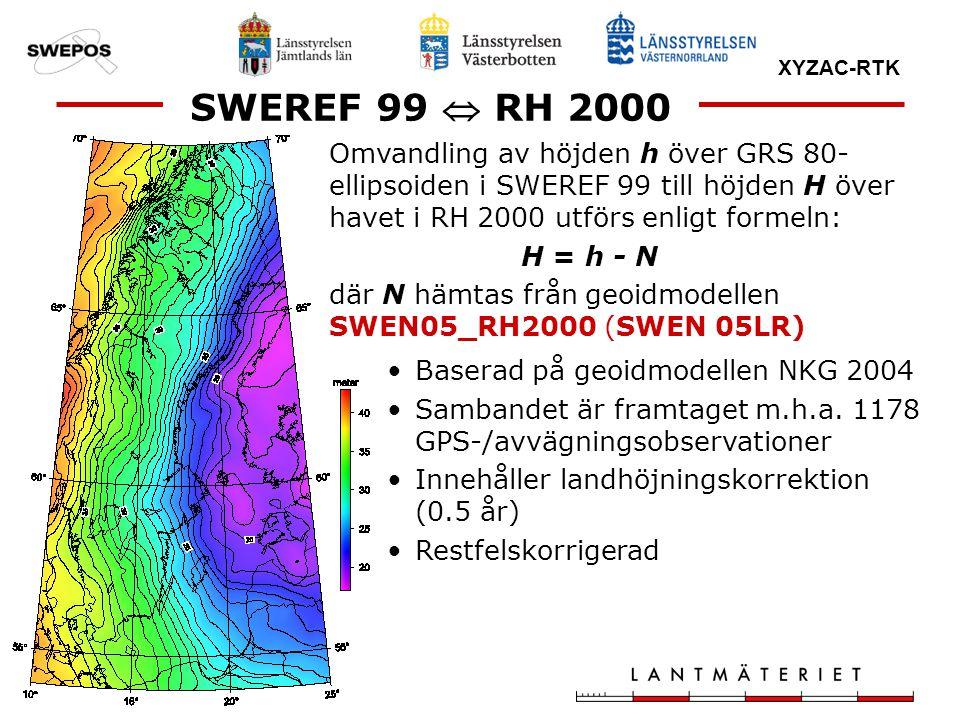 XYZAC-RTK Omvandling av höjden h över GRS 80- ellipsoiden i SWEREF 99 till höjden H över havet i RH 2000 utförs enligt formeln: H = h - N där N hämtas
