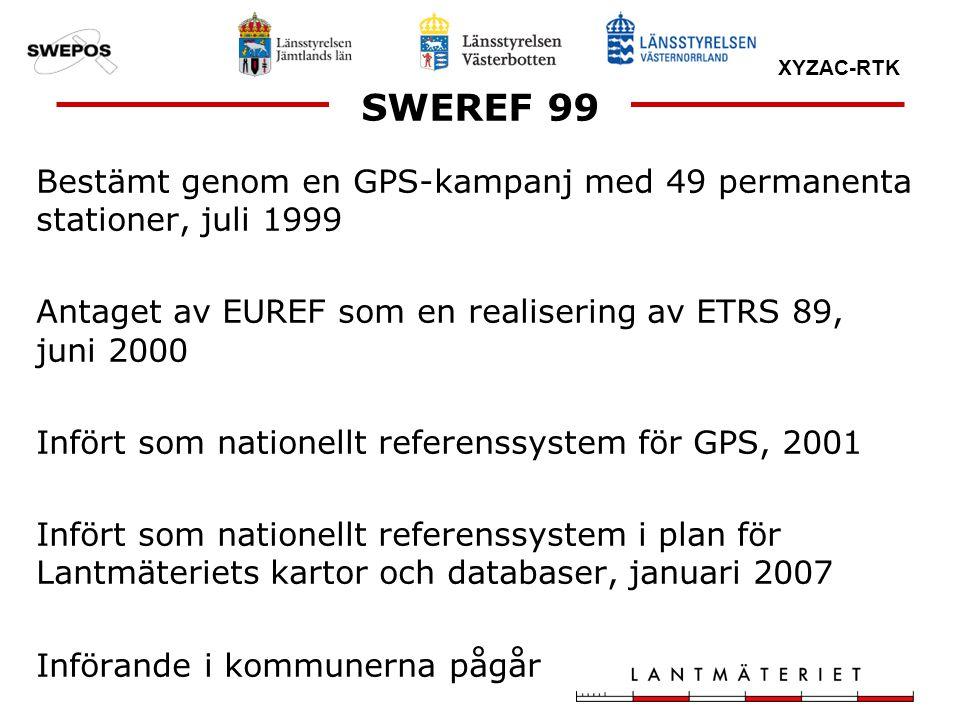 XYZAC-RTK SWEREF 99 Bestämt genom en GPS-kampanj med 49 permanenta stationer, juli 1999 Antaget av EUREF som en realisering av ETRS 89, juni 2000 Infö