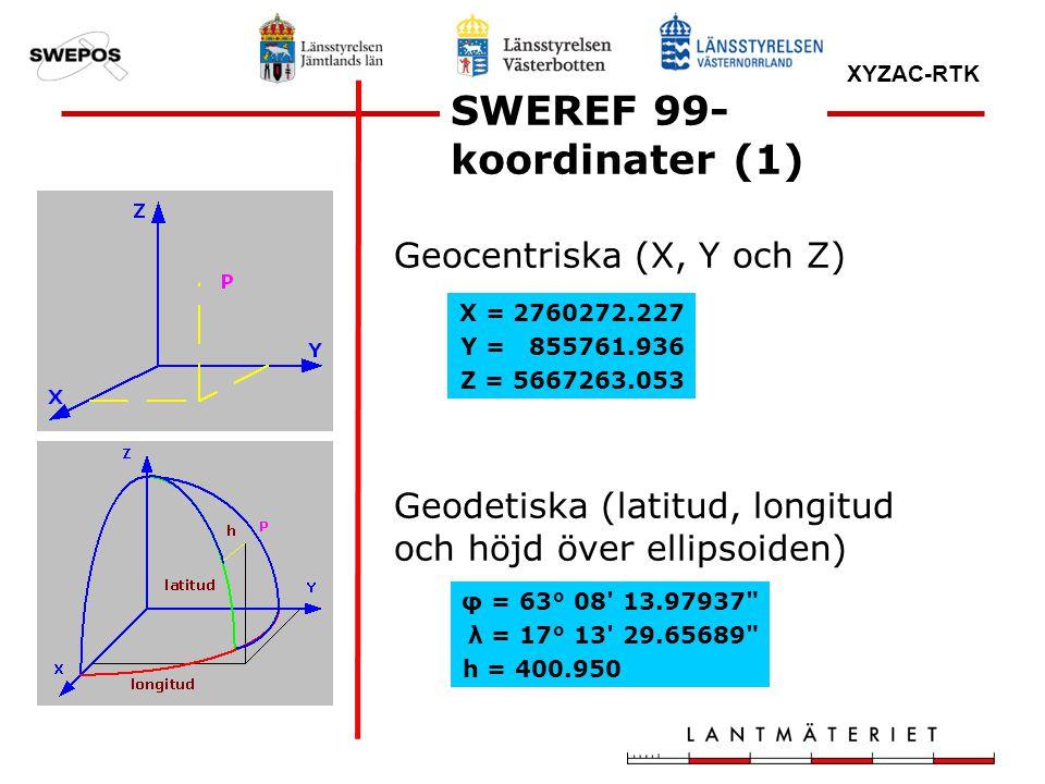 XYZAC-RTK Geocentriska (X, Y och Z) Geodetiska (latitud, longitud och höjd över ellipsoiden) SWEREF 99- koordinater (1) X = 2760272.227 Y = 855761.936