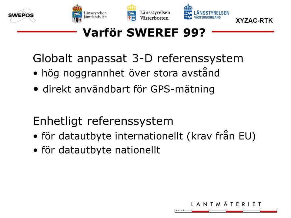 XYZAC-RTK Varför SWEREF 99? Globalt anpassat 3-D referenssystem hög noggrannhet över stora avstånd direkt användbart för GPS-mätning Enhetligt referen
