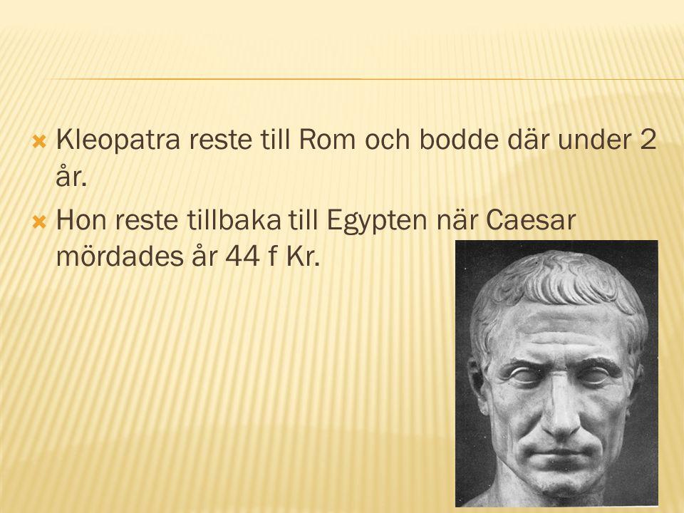  Kleopatra reste till Rom och bodde där under 2 år.  Hon reste tillbaka till Egypten när Caesar mördades år 44 f Kr.