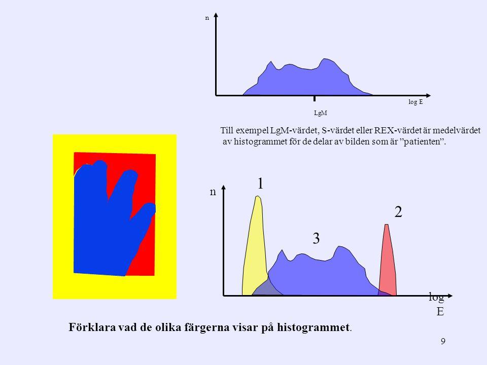 9 1 2 log E n Förklara vad de olika färgerna visar på histogrammet. n log E LgM Till exempel LgM-värdet, S-värdet eller REX-värdet är medelvärdet av h