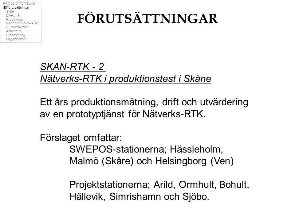 PROJEKTFÖRSLAG  Förutsättningar  Syfte  Effektmål  Produktmål  Varför Nätverks-RTK.
