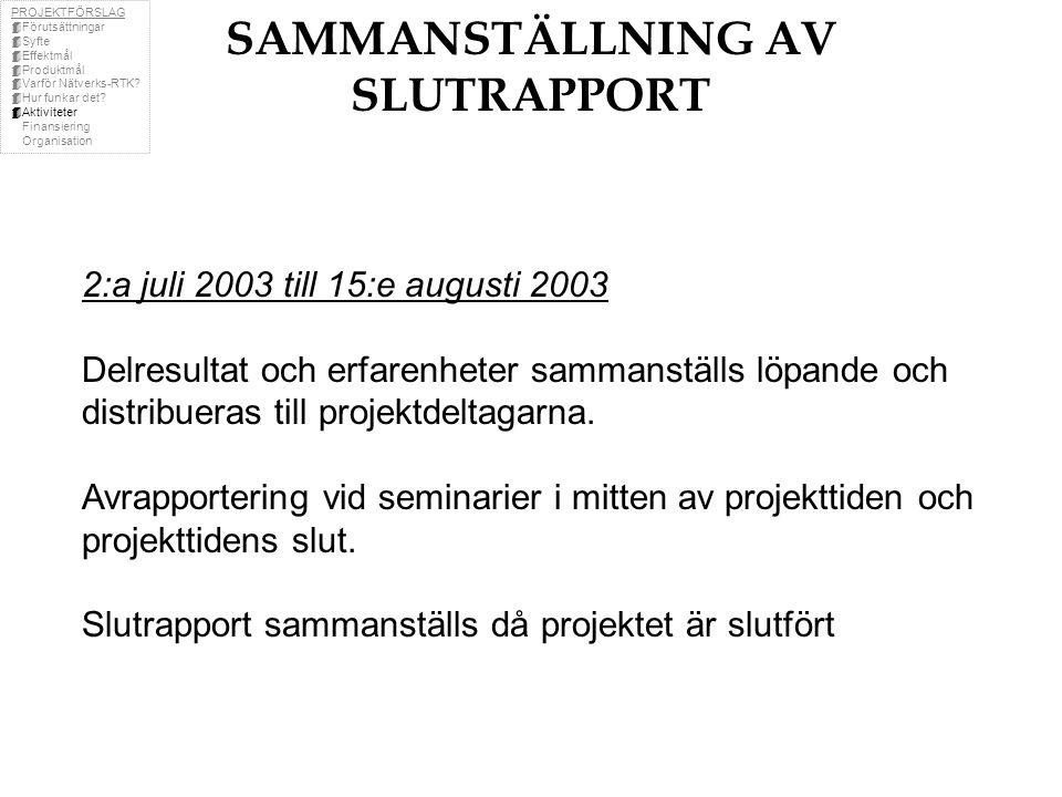 SAMMANSTÄLLNING AV SLUTRAPPORT 2:a juli 2003 till 15:e augusti 2003 Delresultat och erfarenheter sammanställs löpande och distribueras till projektdeltagarna.