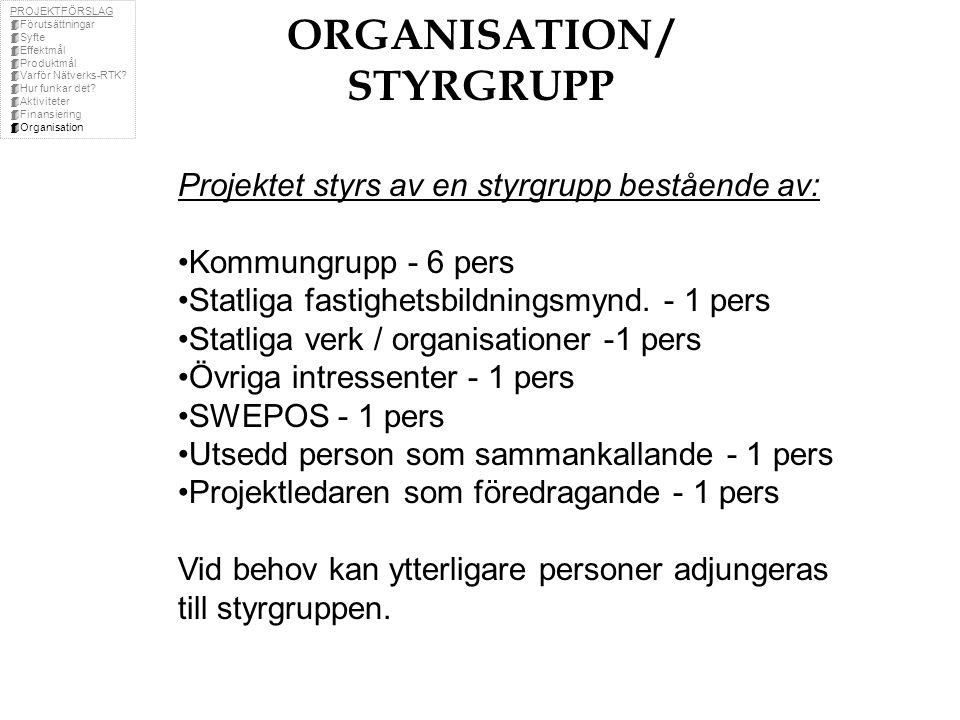 ORGANISATION / STYRGRUPP Projektet styrs av en styrgrupp bestående av: Kommungrupp - 6 pers Statliga fastighetsbildningsmynd.