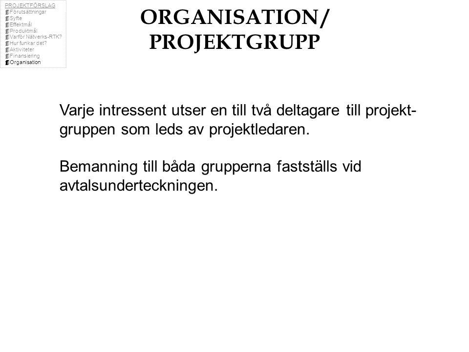 ORGANISATION / PROJEKTGRUPP Varje intressent utser en till två deltagare till projekt- gruppen som leds av projektledaren.