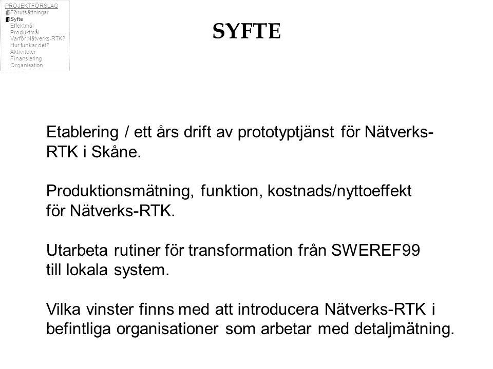 SYFTE Etablering / ett års drift av prototyptjänst för Nätverks- RTK i Skåne.