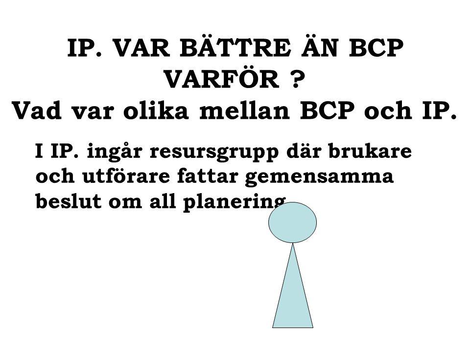 IP. VAR BÄTTRE ÄN BCP VARFÖR . Vad var olika mellan BCP och IP.