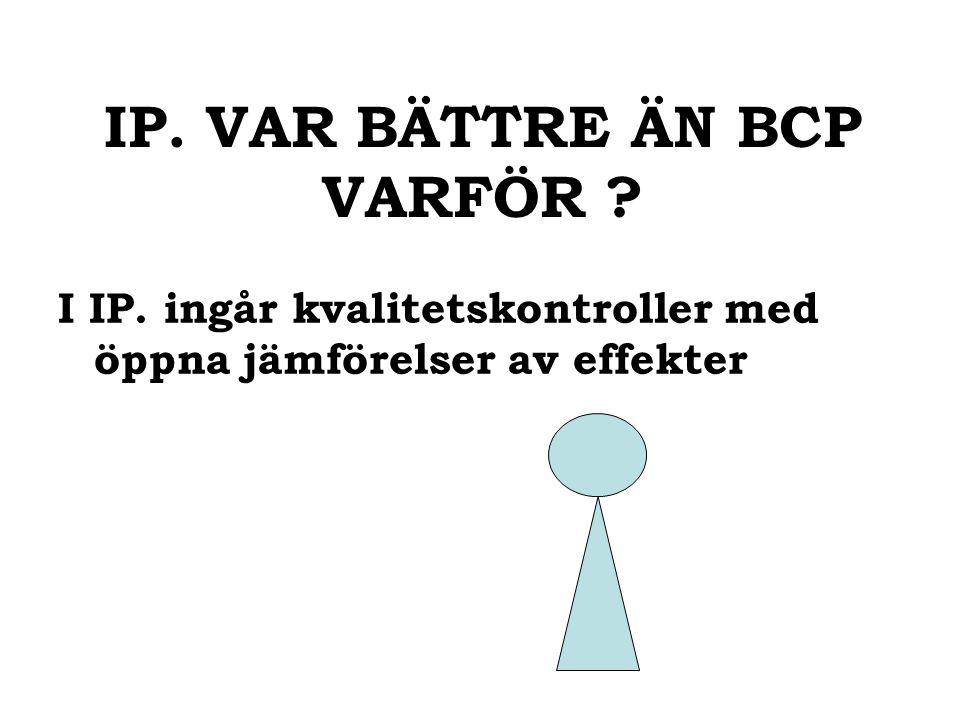 IP. VAR BÄTTRE ÄN BCP VARFÖR I IP. ingår kvalitetskontroller med öppna jämförelser av effekter
