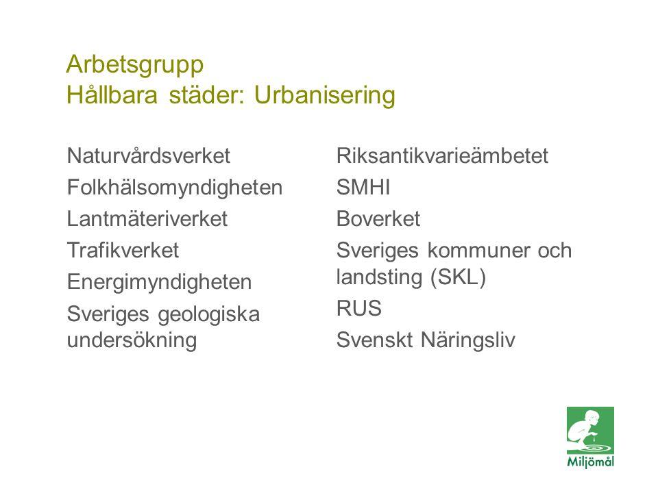 Vill du veta mer? FOTO: LARS P:SON/JOHNÉR Arbetsgrupp Hållbara städer: Urbanisering Naturvårdsverket Folkhälsomyndigheten Lantmäteriverket Trafikverke