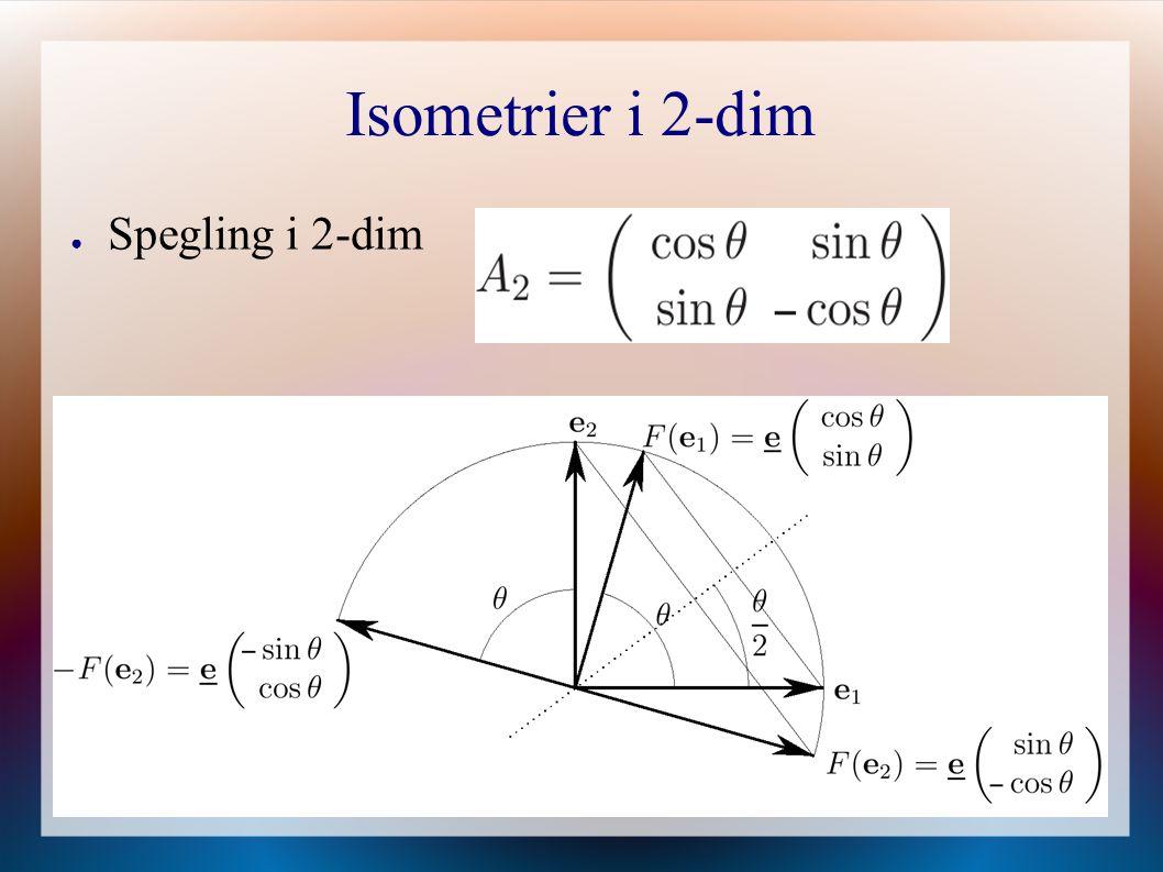 Isometrier i 2-dim ● Spegling i 2-dim