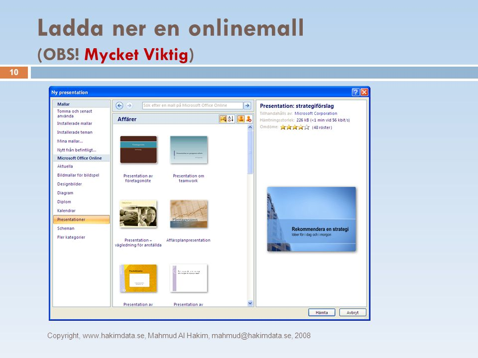Ladda ner en onlinemall (OBS.
