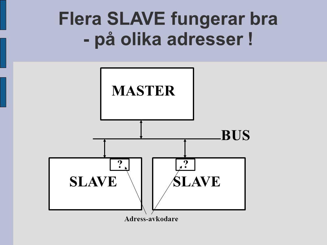 Flera SLAVE fungerar bra - på olika adresser ! MASTER BUS SLAVE ?? Adress-avkodare