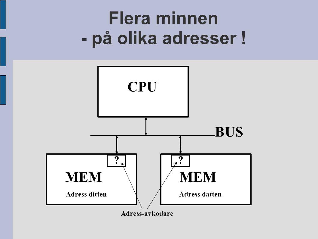 Flera minnen - på olika adresser ! CPU MEM BUS MEM Adress dittenAdress datten ?? Adress-avkodare