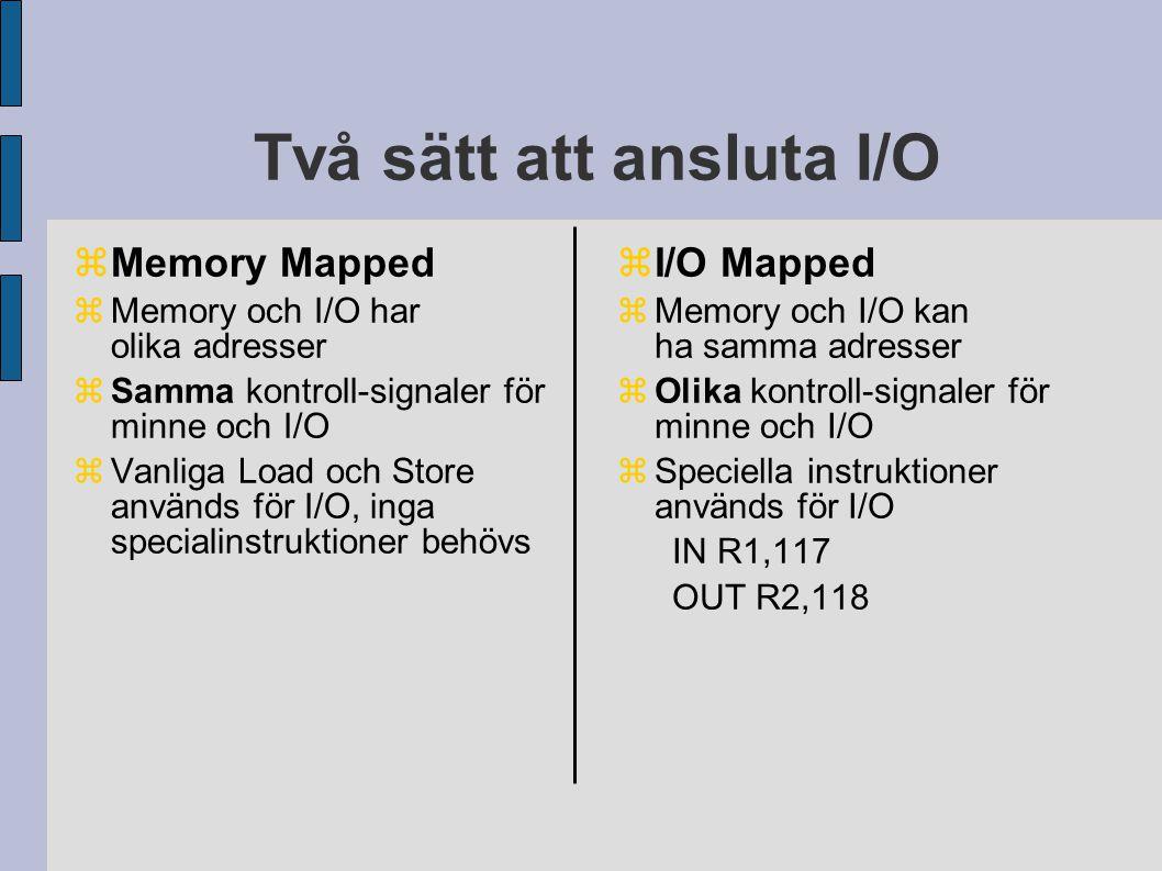 Två sätt att ansluta I/O  Memory Mapped  Memory och I/O har olika adresser  Samma kontroll-signaler för minne och I/O  Vanliga Load och Store används för I/O, inga specialinstruktioner behövs  I/O Mapped  Memory och I/O kan ha samma adresser  Olika kontroll-signaler för minne och I/O  Speciella instruktioner används för I/O IN R1,117 OUT R2,118