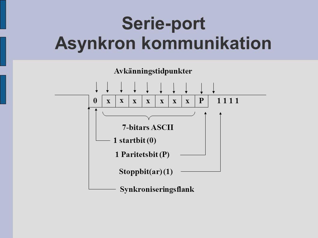 Serie-port Asynkron kommunikation 0x x xxxxxP1 1 7-bitars ASCII 1 startbit (0) 1 Paritetsbit (P) Stoppbit(ar) (1) Synkroniseringsflank Avkänningstidpunkter