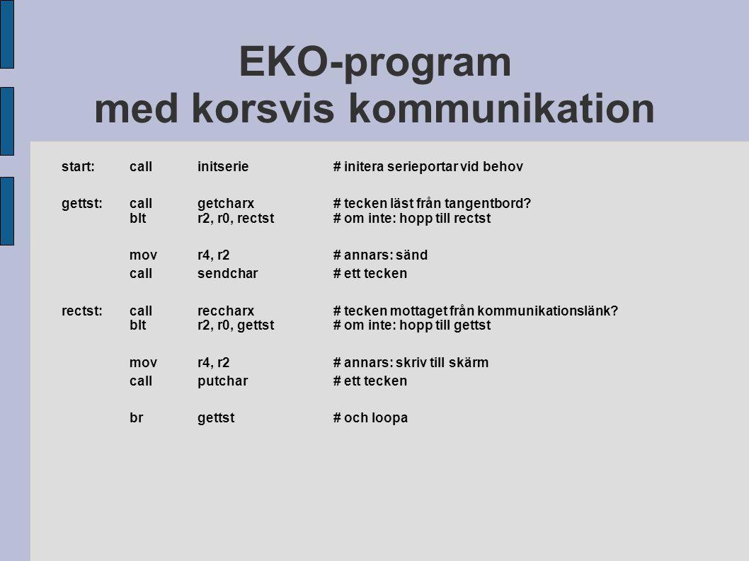 EKO-program med korsvis kommunikation start:callinitserie# initera serieportar vid behov gettst:callgetcharx# tecken läst från tangentbord? bltr2, r0,