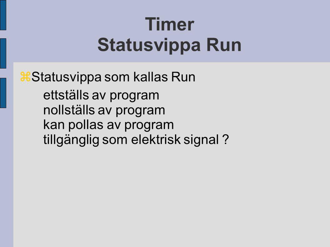 Timer Statusvippa Run  Statusvippa som kallas Run ettställs av program nollställs av program kan pollas av program tillgänglig som elektrisk signal ?
