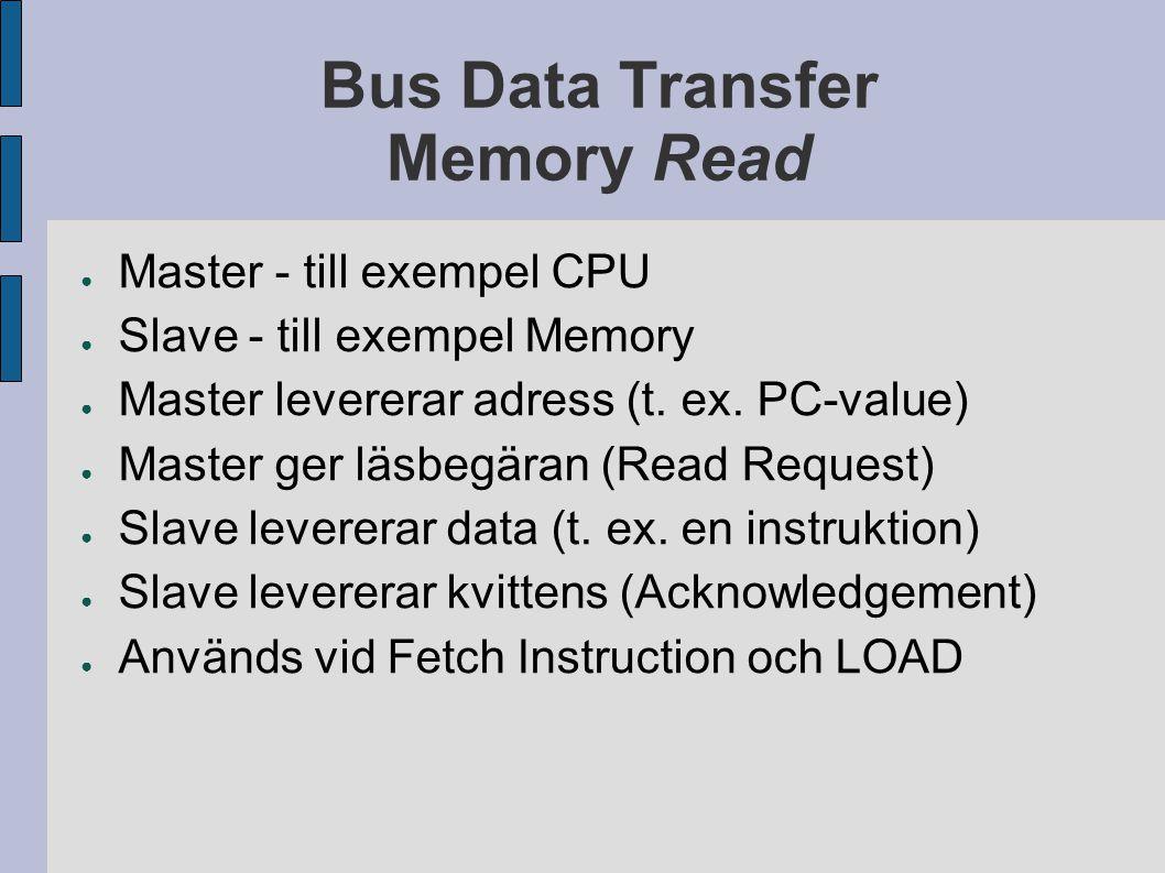Bus Data Transfer Memory Read ● Master - till exempel CPU ● Slave - till exempel Memory ● Master levererar adress (t.