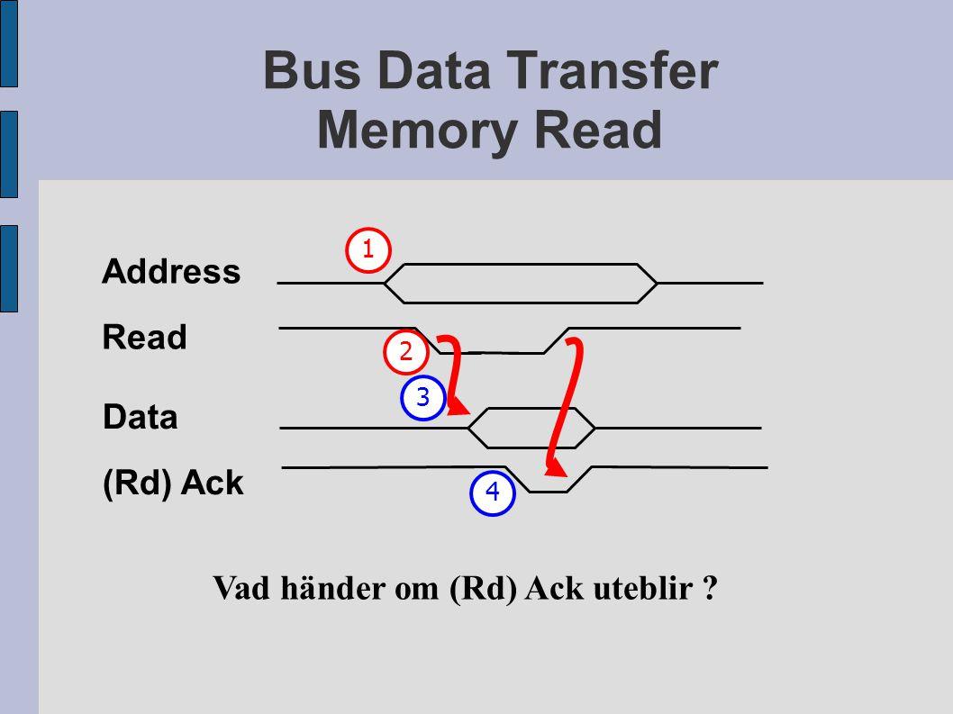 Bus Data Transfer Memory Read Address Read Vad händer om (Rd) Ack uteblir ? 12 Data (Rd) Ack 34