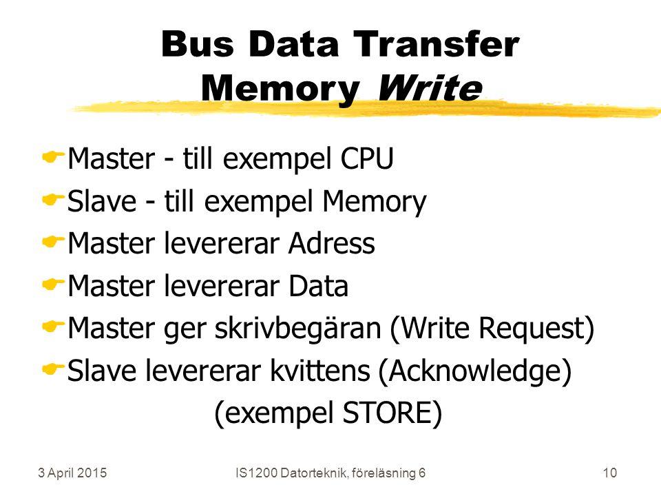 3 April 2015IS1200 Datorteknik, föreläsning 610 Bus Data Transfer Memory Write  Master - till exempel CPU  Slave - till exempel Memory  Master levererar Adress  Master levererar Data  Master ger skrivbegäran (Write Request)  Slave levererar kvittens (Acknowledge) (exempel STORE)