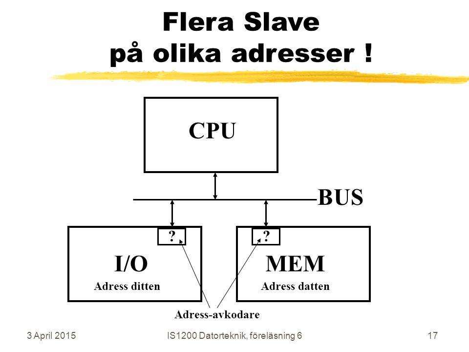 3 April 2015IS1200 Datorteknik, föreläsning 617 Flera Slave på olika adresser .