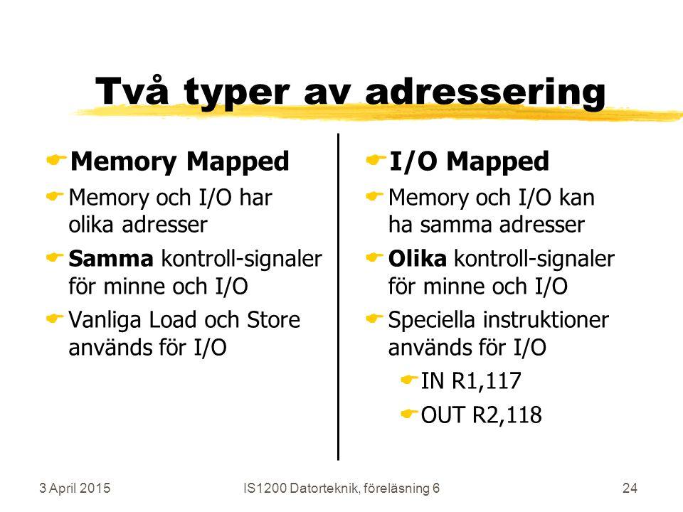 3 April 2015IS1200 Datorteknik, föreläsning 624 Två typer av adressering  Memory Mapped  Memory och I/O har olika adresser  Samma kontroll-signaler för minne och I/O  Vanliga Load och Store används för I/O  I/O Mapped  Memory och I/O kan ha samma adresser  Olika kontroll-signaler för minne och I/O  Speciella instruktioner används för I/O  IN R1,117  OUT R2,118