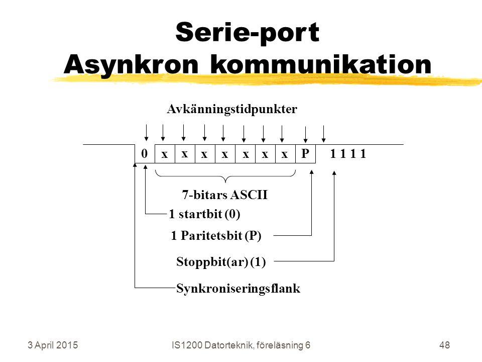 3 April 2015IS1200 Datorteknik, föreläsning 648 Serie-port Asynkron kommunikation 0x x xxxxxP1 1 7-bitars ASCII 1 startbit (0) 1 Paritetsbit (P) Stoppbit(ar) (1) Synkroniseringsflank Avkänningstidpunkter