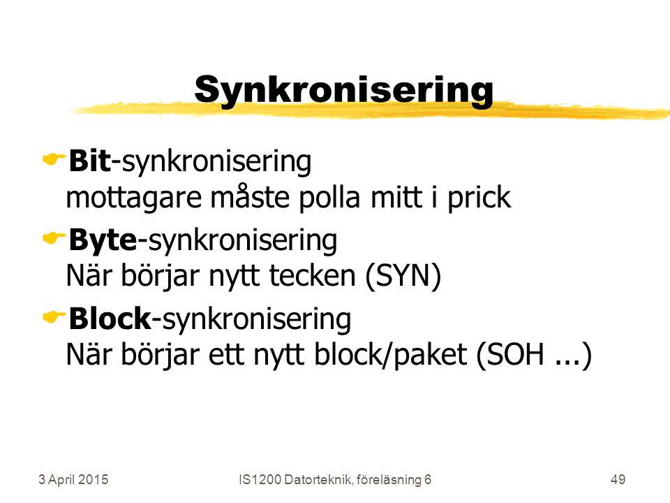 3 April 2015IS1200 Datorteknik, föreläsning 649 Synkronisering  Bit-synkronisering mottagare måste polla mitt i prick  Byte-synkronisering När börjar nytt tecken (SYN)  Block-synkronisering När börjar ett nytt block/paket (SOH...)