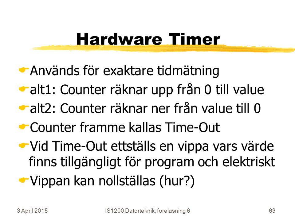 3 April 2015IS1200 Datorteknik, föreläsning 663 Hardware Timer  Används för exaktare tidmätning  alt1: Counter räknar upp från 0 till value  alt2: Counter räknar ner från value till 0  Counter framme kallas Time-Out  Vid Time-Out ettställs en vippa vars värde finns tillgängligt för program och elektriskt  Vippan kan nollställas (hur )