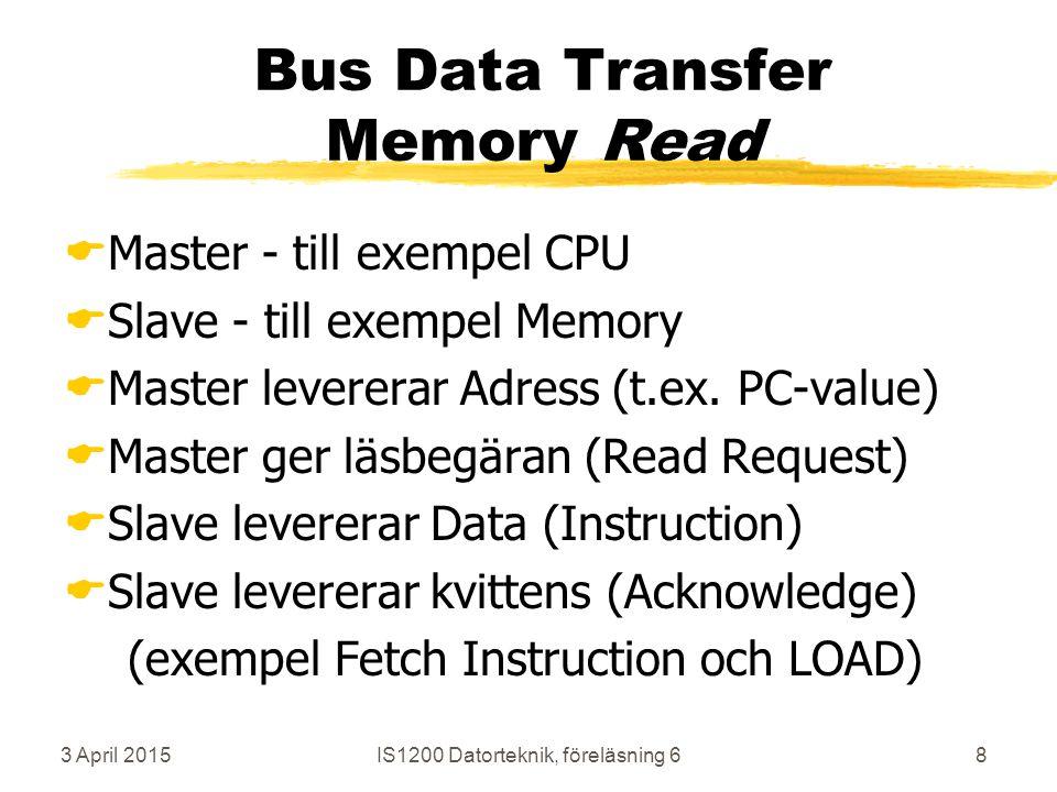 3 April 2015IS1200 Datorteknik, föreläsning 68 Bus Data Transfer Memory Read  Master - till exempel CPU  Slave - till exempel Memory  Master levererar Adress (t.ex.