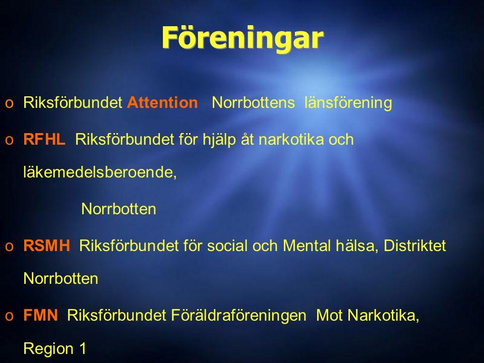Föreningar oRiksförbundet Attention Norrbottens länsförening oRFHL Riksförbundet för hjälp åt narkotika och läkemedelsberoende, Norrbotten oRSMH Riksförbundet för social och Mental hälsa, Distriktet Norrbotten oFMN Riksförbundet Föräldraföreningen Mot Narkotika, Region 1 ( oIFS Piteå - Älvdal (Schizofreniförbundet) oRiksförbundet Attention Norrbottens länsförening oRFHL Riksförbundet för hjälp åt narkotika och läkemedelsberoende, Norrbotten oRSMH Riksförbundet för social och Mental hälsa, Distriktet Norrbotten oFMN Riksförbundet Föräldraföreningen Mot Narkotika, Region 1 ( oIFS Piteå - Älvdal (Schizofreniförbundet)