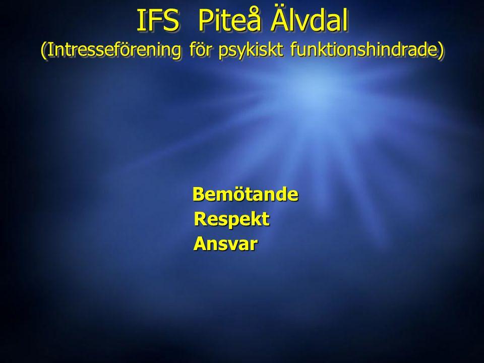 IFS Piteå Älvdal (Intresseförening för psykiskt funktionshindrade) Bemötande Bemötande Respekt Respekt Ansvar Ansvar