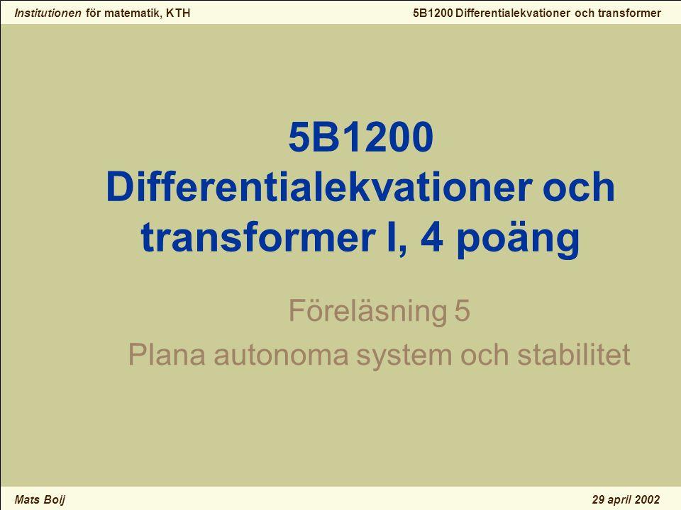 Institutionen för matematik, KTH Mats Boij 5B1200 Differentialekvationer och transformer 29 april 2002 Instabil spiral 4 Riktningsfält och fasporträtt av en instabil spiral.