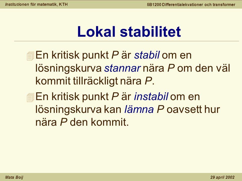 Institutionen för matematik, KTH Mats Boij 5B1200 Differentialekvationer och transformer 29 april 2002 Lokal stabilitet 4 En kritisk punkt P är stabil