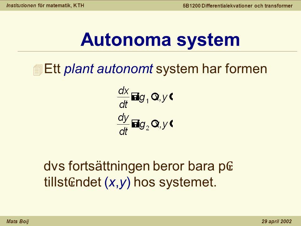 Institutionen för matematik, KTH Mats Boij 5B1200 Differentialekvationer och transformer 29 april 2002 Kritiska punkter 4 En kritisk punkt (x 0,y 0 ) svarar mot en konstant lösning (x(t),y(t))=(x 0,y 0 ).