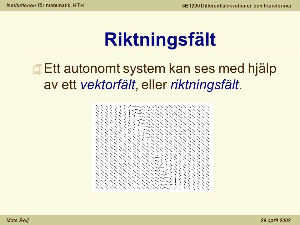 Institutionen för matematik, KTH Mats Boij 5B1200 Differentialekvationer och transformer 29 april 2002 Riktningsfält 4 Ett autonomt system kan ses med hjälp av ett vektorfält, eller riktningsfält.