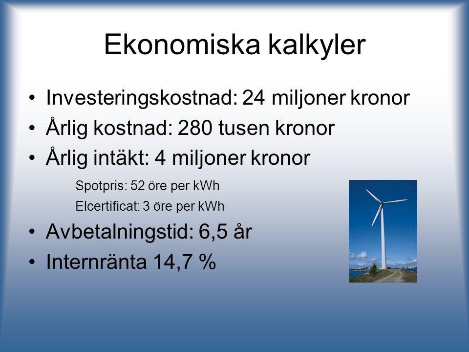 Ekonomiska kalkyler Investeringskostnad: 24 miljoner kronor Årlig kostnad: 280 tusen kronor Årlig intäkt: 4 miljoner kronor Spotpris: 52 öre per kWh E