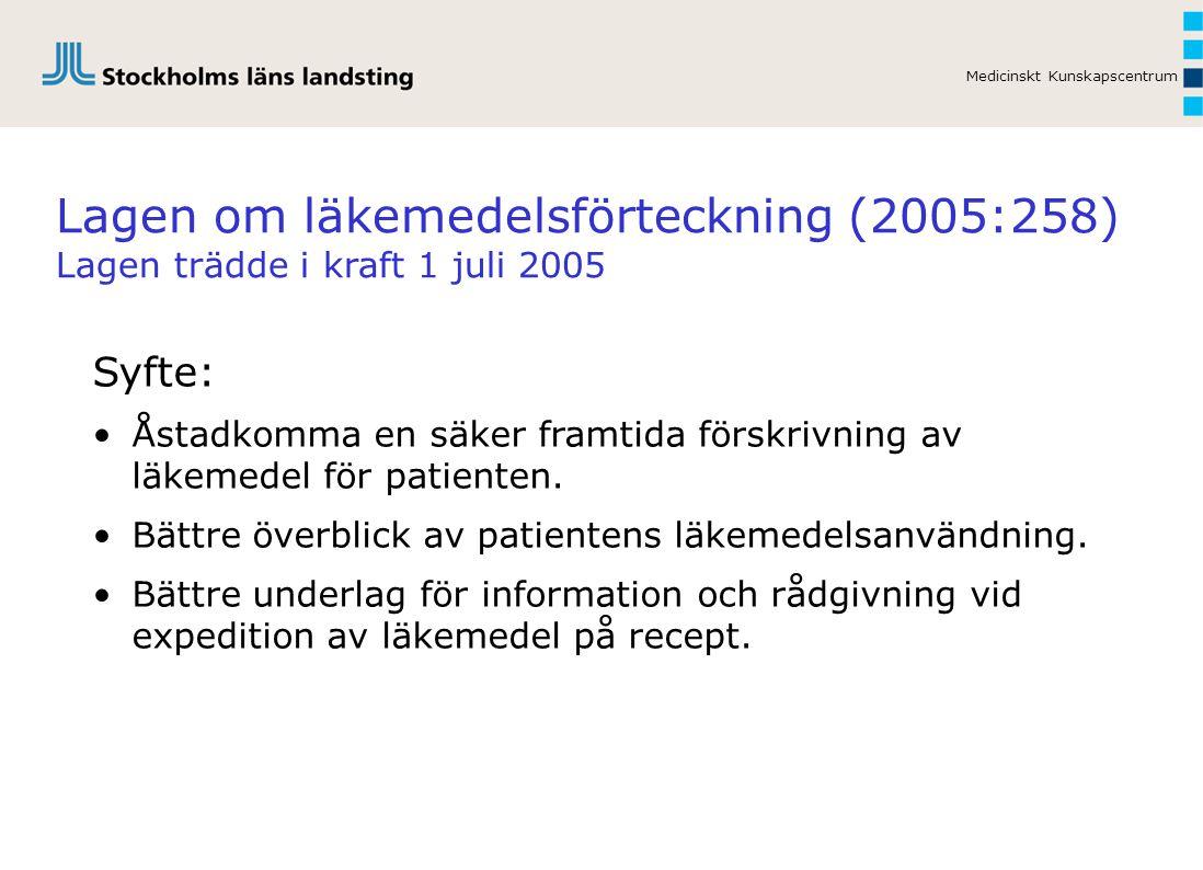 Medicinskt Kunskapscentrum Lagen om läkemedelsförteckning (2005:258) Lagen trädde i kraft 1 juli 2005 Syfte: Åstadkomma en säker framtida förskrivning av läkemedel för patienten.