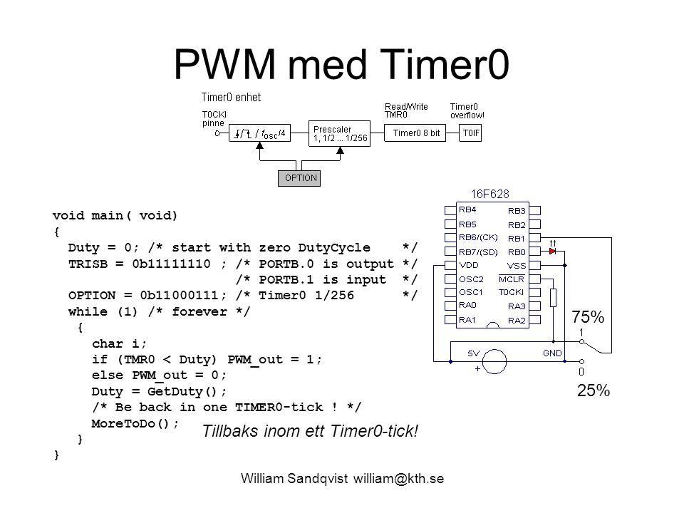 William Sandqvist william@kth.se DutyCycle while(1) { speed = count; CCPR1L = speed; /* new PWM-value */ } count uppdateras av interruptrutinen!