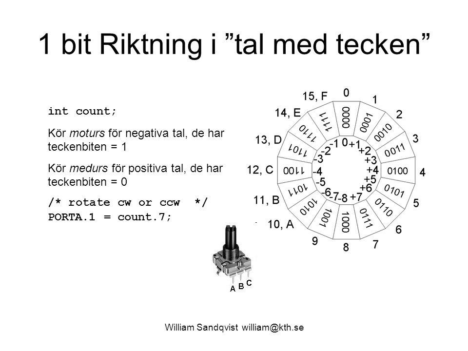 William Sandqvist william@kth.se 1 bit Riktning i tal med tecken int count; Kör moturs för negativa tal, de har teckenbiten = 1 Kör medurs för positiva tal, de har teckenbiten = 0 /* rotate cw or ccw */ PORTA.1 = count.7;