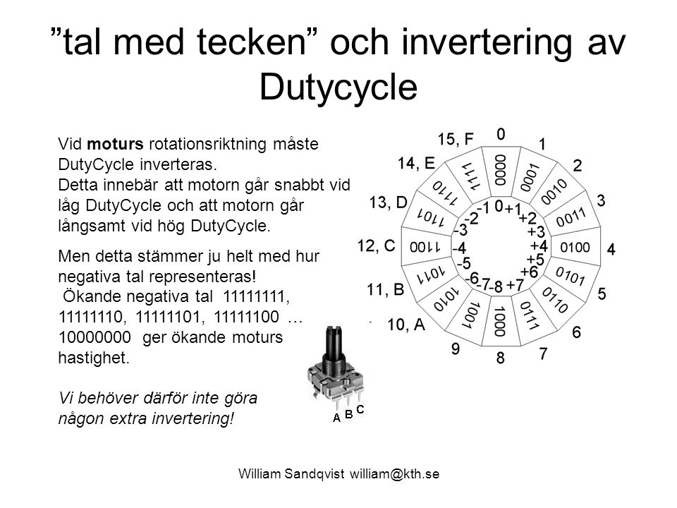William Sandqvist william@kth.se tal med tecken och invertering av Dutycycle Vid moturs rotationsriktning måste DutyCycle inverteras.