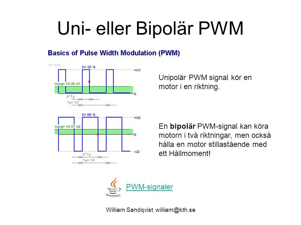 Uni- eller Bipolär PWM PWM-signaler En bipolär PWM-signal kan köra motorn i två riktningar, men också hålla en motor stillastående med ett Hållmoment.