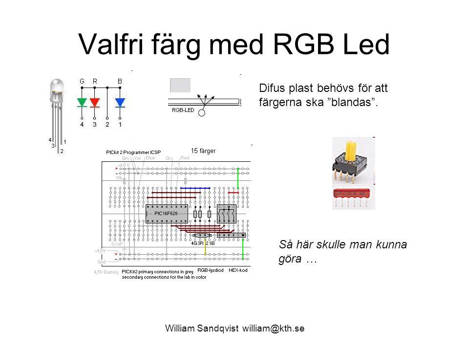 William Sandqvist william@kth.se Valfri färg med RGB Led while (1) /* forever */ { if(PORTB.0==0) intensity =75; else intensity =255; R_Duty = 0; G_Duty = 0; B_Duty = 0; if( PORTB.3 ) R_Duty = intensity ; if( PORTB.2 ) G_Duty = intensity ; if( PORTB.1 ) B_Duty = intensity ; /* PWM-generation */ if (TMR0 < R_Duty) RA0 = ON; /* Red PWM */ else RA0 = OFF; if (TMR0 < G_Duty) RA1 = ON; /* Green PWM */ else RA1 = OFF; if (TMR0 < B_Duty) RB5 = ON; /* Blue PWM */ else RB5 = OFF; }
