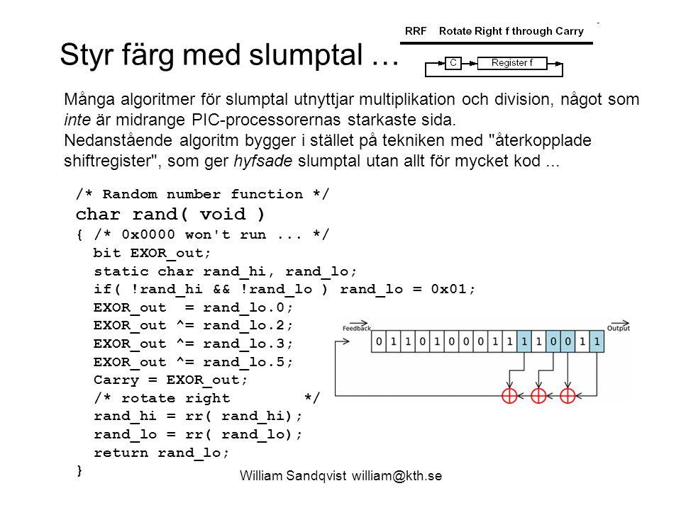 William Sandqvist william@kth.se pwm1k62x.c void main( void) { TRISB.3 = 0; /* CCP1 is output at RB3 ( pin 9 ) */ /* Setup TIMER 2 */ /* 0.xxxx.x.xx - x.0000.x.xx 1:1 postscaler x.xxxx.1.xx TMR2 on x.xxxx.x.01 1:4 prescaler */ T2CON = 0b0.0000.1.01; PR2 = 249; /* PWM frequency 1000 Hz */ /* Setup CCP1 PWM-mode */ /* 00.x.x.xxxx -- xx.0.0.xxxx CCP1X=0 CCP1Y=0 xx.x.x.1111 PWM-mode (11--) */ CCP1CON = 0b00.0.0.1111; /* 50% 10 bit Duty 0b01111101.0.0 = 500 */ CCPR1L = 125; /* 0b01111101 */ while(1) nop(); } Lyssna med hörluren, och mät frekvensen och DutyCyclen med Scopemeter123 PWM-enheten är helt självgående …