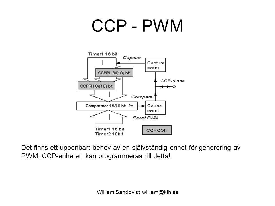 William Sandqvist william@kth.se CCP - PWM Det finns ett uppenbart behov av en självständig enhet för generering av PWM.