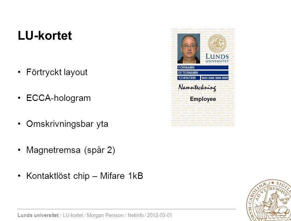 Lunds universitet / LU-kortet / Morgan Persson / Netinfo / 2012-03-01 LU-kortet Förtryckt layout ECCA-hologram Omskrivningsbar yta Magnetremsa (spår 2